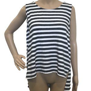 CASLON French Terry Gray Stripe Lace Top